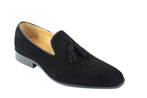 Da uomo pelle scamosciata blu verde nero antiscivolo su Mocassino nappa vintage scarpe, Nero (Black), 45 EU