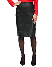 M&S Collection Knee Length Ponte Pencil Skirt with Leather Front