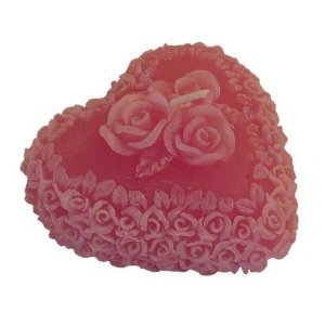 Heart Shaped Rose Fragranced Candle- Pink