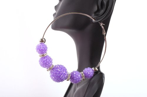 Neon Purple Shamballah 3 Inch Hoop Earrings with 5 Disco Balls and 4 Iced Out Rondelle Loops Basketball Mob Wives Lady Gaga Poparazzi