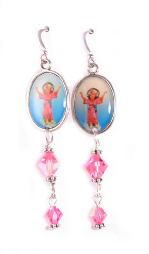 The Divine Infant / Nino Divino Earrings Catholic Jewelry Catholic Earrings Religious Jewelry Swarovski Crystal