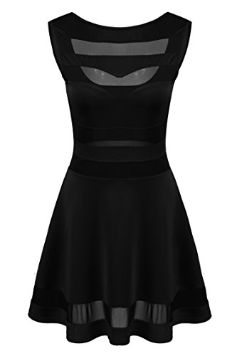 Zeagoo Women's Mesh See Through Sheer Block Skater Sleeveless Mini Dress,Small,Black