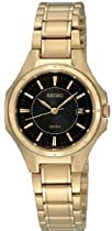 Women Watch Seiko SXDE18 Gold Tone Stainless Steel Quartz Black Dial Link Brace