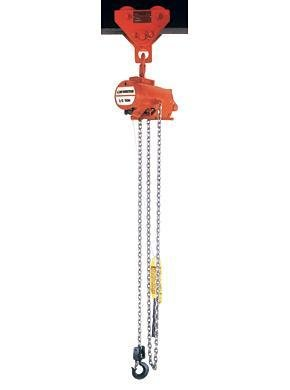 CM 7400C AirStar Link Chain Air Hoist with Pull Cord Control and Hook Suspension, 500 lbs Capacity, 10' Lift Height, 65 fpm Lift Speed, 48 SCFM, 90 psi