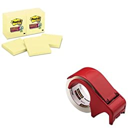 KITMMM65412SSCYMMMDP300RD - Value Kit - Scotch Compact and Quick Loading Dispenser for Box Sealing Tape (MMMDP300RD) and Post-it Super Sticky Notes (MMM65412SSCY)