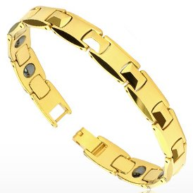 Gold Tone Solid Link Bio Magnetic Tungsten Carbide Bracelet