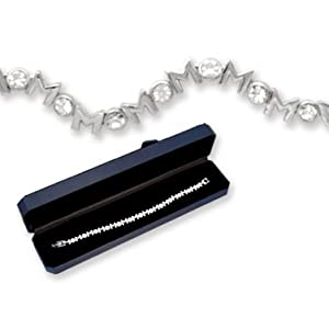 Crystal & Silver MOM Tennis Bracelet! Gift Boxed!