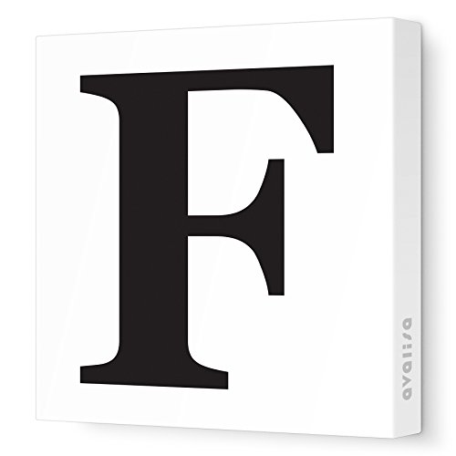 "Avalisa Stretched Canvas Upper Letter F Nursery Wall Art, Black, 18"" x 18"""