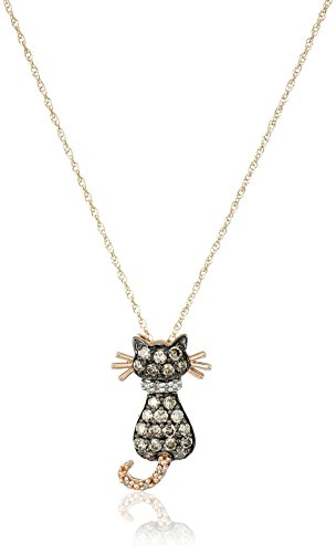 """14k Rose Gold Brown and White Diamond Cat  (1/3 cttw, I-J Color and I2-I3 Clarity) Pendant Necklace, 18"""""""