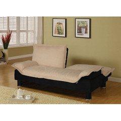 Coaster Convertible Microfibre Sofa Bedin Beige and Black