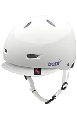 Bern Brighton Women's Visor Bike/Skateboard Helmet - Gloss White W/White Visor from Bern