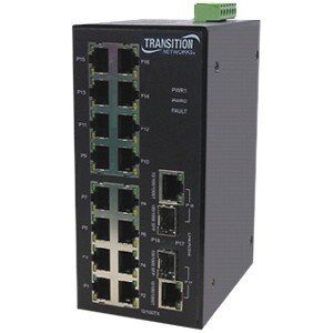 Transition Networks SISTM1040-262D-LRT Industrial Ethernet Switch. 16PORT MANAGED 10/100 BTX 2PORT INDUSTRIAL SWITCH STD-SW. 18 Port - 2 Slot - 16, 2 x 10/100Base-TX - , 10/100/1000Base-T - 2 x SFP (mini-GBIC) Slot