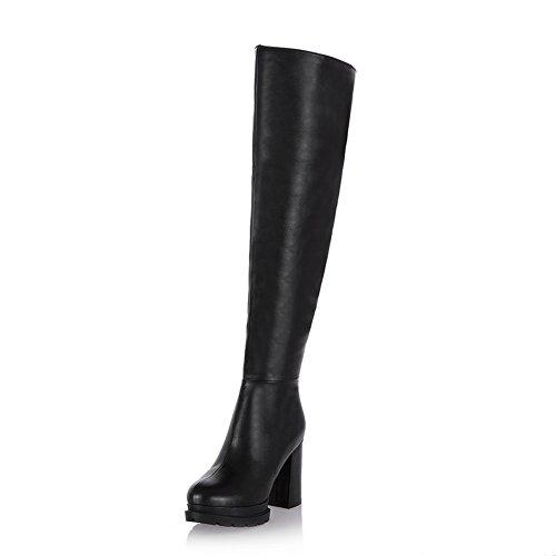 balamasa-girls-chunky-heels-zipper-platform-round-toe-black-soft-material-boots-35-uk