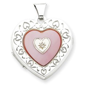 Genuine IceCarats Designer Jewelry Gift Sterling Silver Mop Diamond 2-Frame Heart Locket