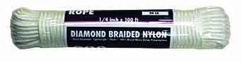 Rope King DBN-14100 Diamond Braided Nylon Rope 1/4 inch x 100 feet