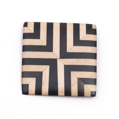 Square Graphic Wood Brooch (Assorted)