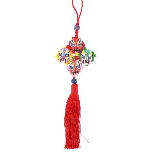 Water & Wood Colorful Chinese Knot Opera Mask Tassel Dangle Ornament For Auto Car With Car Cleaning Cloth