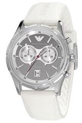 Emporio Armani Men's AR0582 White Rubber Quartz Watch with Silver Dial