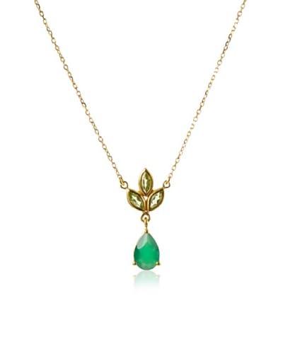 Eddera Jewelry Marquise Peridot/Green Onyx Necklace