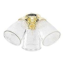 Ellington CK757BB, 3-Light Clear Ribbed Cone Glass Light Kit, Bright Brass