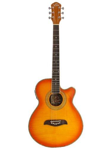 Oscar Schmidt Og10Ce Concert-Size Cutaway Acoustic-Electric Guitar - Flame Yellow Sunburst