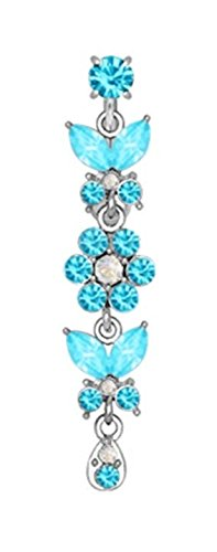 Aqua Lt Blue Butterfly'S & Flower'S Dangle Reverse Top Mount Belly Button Navel Ring Piercing Bar Body Jewelry 14G
