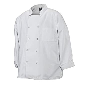 Chef Revival J100 24/7 Poly Cotton Blend Long Sleeve Basic Jacket with Clear Pearl Bottons, X-Large, White