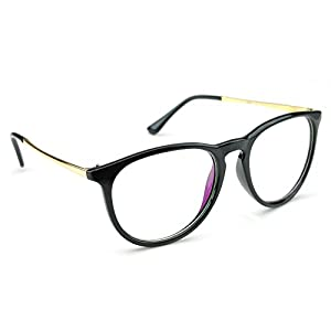 PenSee Womens Fashion Oversized Clear Lens Round Circle Eye Glasses (Black)
