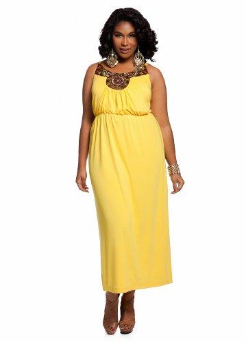 Ashley Stewart Women's Plus Size Beaded Maxi Dress Sun Struck 14/16