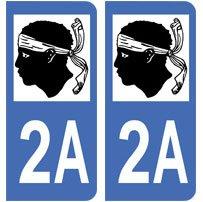 2-autocollants-Corse-2A-plaque-immatriculation-dpartement-auto-Corse-2A-angles-arrondis