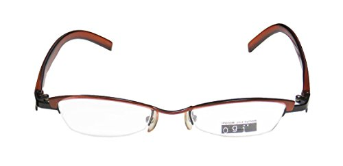 [Ogi 2170 Womens/Ladies Prescription Ready Trusted Luxury Brand Designer Half-rim Eyeglasses/Glasses (45-18-140, Brown /] (Android 17 And 18 Costumes)