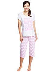 Pure Cotton Party Now Sleep Later Heart Print Cropped Pyjamas