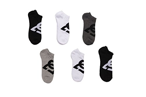 DC 6-Pack Men's Sport No Show Socks Assorted, 10-13 Size (Shoe Size 6-12.5) (White-Black)