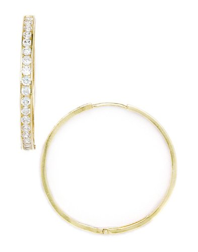 14ct Yellow Gold CZ Hoop Hinged Earrings - Measures 33x34mm