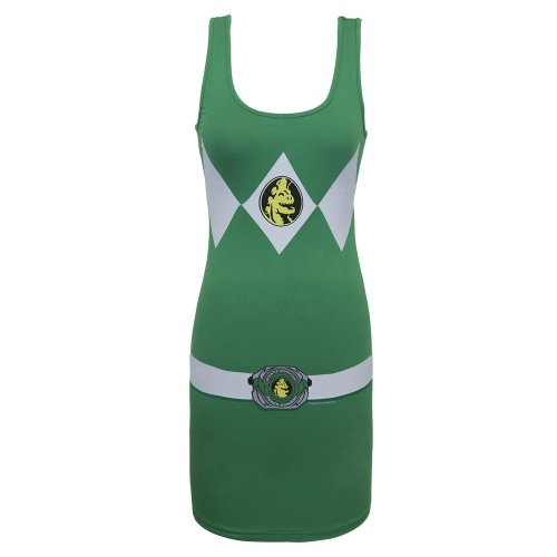 Mighty Morphin Power Rangers Costume Womens Tunic Tank (Small, Green)