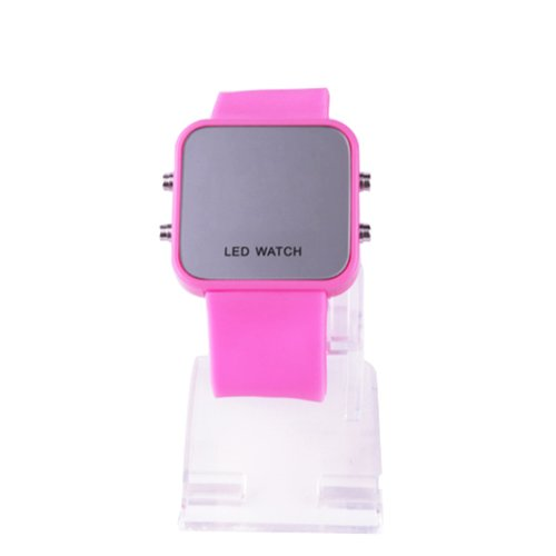 Hde Women'S Digital Mirror Led Faceless Casual Sports Watch With Fuschia Pink Silicone Jelly Band