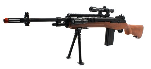 Major Combat YK14 M14 Spring Airsoft Gun FPS-270 w/ Bi-Pod (Faux Wood)