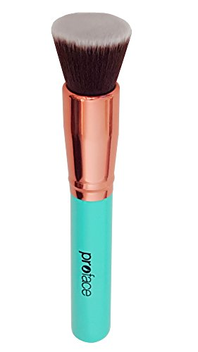 Mypreface Rose Golden Foundation Brush Flat Top Kabuki for Face Makeup - Perfect for Blending Liquid,Cream & Mineral Cosmetics or Translucent Powder - Premium Quality Synthetic Dense Bristles!(Blue) (Angular Breeze compare prices)