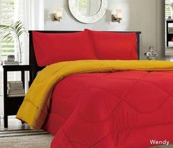 Down Alternative Reversible Comforter Red/Gold front-895199