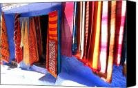 Handknotted traditional moroccan carpets on display for Sale Canvas Print / Canvas Art - Artist R...