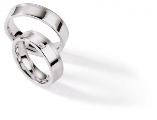 925 Sterling Silver Rings Wedding Ruesch/55 Brilliant Rhodium-Plated with 000/S111h + 55/S111b