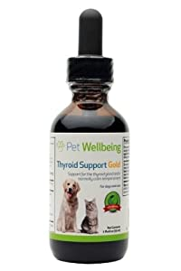 Pet Wellbeing - Thyroid Support Gold for Dogs - A Natural, Herbal Supplement for Hyperthyroidism Support - 2 oz/59 ml Liquid Bottle