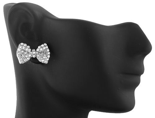 Silver  Clear Iced Out Mini Style Bow Stud Earrings