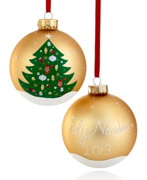 Holiday Lane Gold Glass Christmas Tree Ornaments