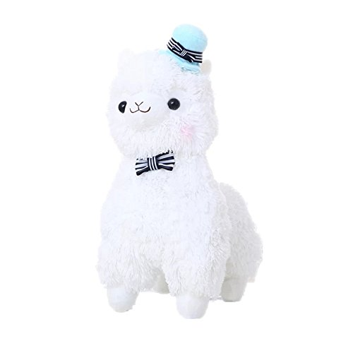 35CM Mud Horse Standing Topper Hat Alpaca Plush Toy Lovely Stuffed Animal Sheep Kids Doll Birthday Gift