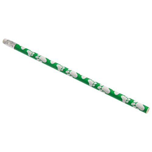 "Dozen Paw Print Design Green & White Wooden #2 Pencils - 7.5"""