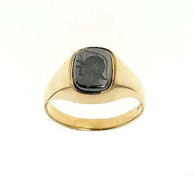 J R Jewellery 421954 Men's 9ct Gold Intaglio Cushion Ring Made In Jewellery Quarter B'ham.