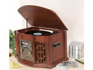 New 6 in 1 Multi Function Music Centre with CD burner, Record Deck, Cassette Deck and Radio Transfer All Your Old Recordings Using Just One System RRP £299