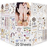 Lady Up Waterproof Metallic Temporary Tattoo 20 sheets in Gold Silver Tattoos,Shimmer Temporary Tattoos for Body Art (Color: 5 colors: style 7)