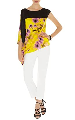 Yellow Floral Asymmetric Top